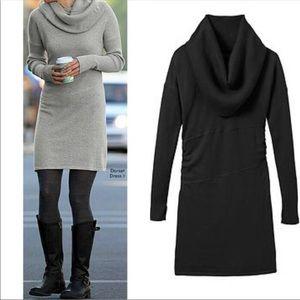 Athleta Dorset Black Sweater Dress Cowl Neck XL